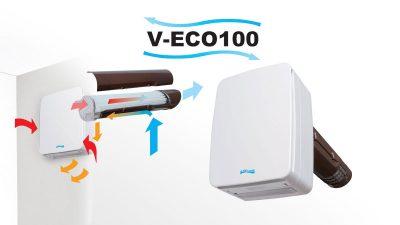 Ventilador con recuperador de calor doble flujo V-ECO100